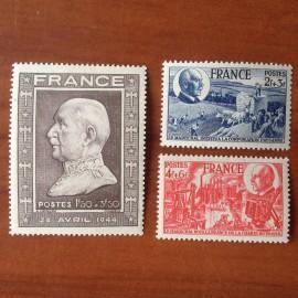 France num Yvert 606-608 ** MNH  Année 1944