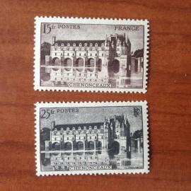 France num Yvert 610-611 ** MNH Château chenonceaux Année 1944