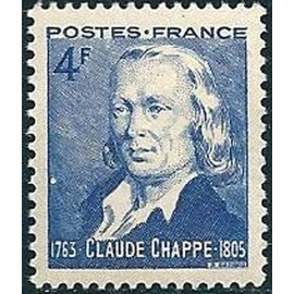 France num Yvert 619 ** MNH Claude Chappe Année 1944
