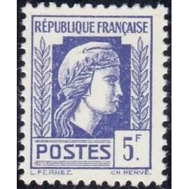 France num Yvert 645 ** MNH Coq 5F Année 1944