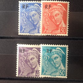 France num Yvert 657-660 ** MNH Type Mercure Année 1944
