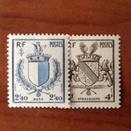 France num Yvert 734-735 ** MNH Serie Armoirie Année 1945