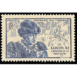 France num Yvert 743 ** MNH Louis XI roi  Année 1945