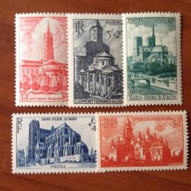 France num Yvert 772-776 ** MNH Cathédrales et Basiliques Année 1947