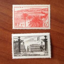 France num Yvert 777-778 ** MNH Monuments et Sites Année 1947