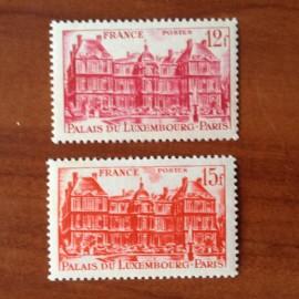 France num Yvert 803-804 ** MNH Paris Palais Luxembourg Année 1948