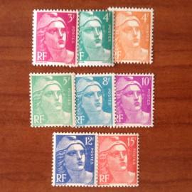 France num Yvert 806-813 ** MNH Série Gandon Année 1948