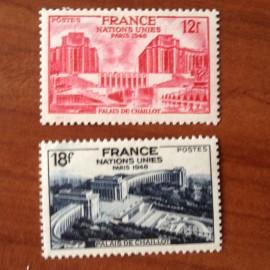 France num Yvert 818-819 ** MNH Paris palais de Chaillot Année 1948