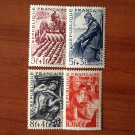 France num Yvert 823-826 ** MNH Série des Metiers Année 1949