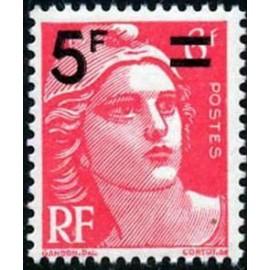 France num Yvert 827 ** MNH Gandon 5 sur rouge Année 1949
