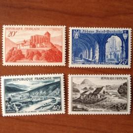 France num Yvert 841A-843 ** MNH Monuments et sites  Année 1949