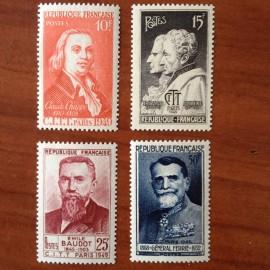 France num Yvert 844-847 ** MNH Célébrités Année 1949