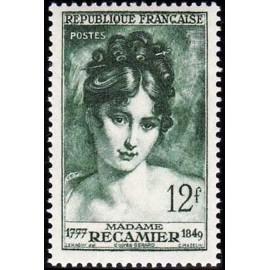 France num Yvert 875 ** MNH Madame Recamier Gerard Année 1950