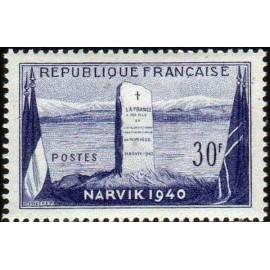 France num Yvert 922 ** MNH Bataille de narvik Année 1952