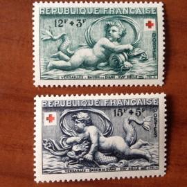 France num Yvert 937-938 ** MNH croix rouge Année 1952