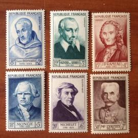 France num Yvert 945-950 ** MNH Célébrités Année 1953