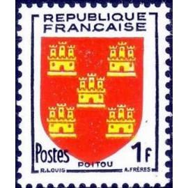 France num Yvert 952 ** MNH Armoiries Poitou Année 1953