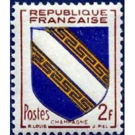 France num Yvert 953 ** MNH Armoiries Champagne Année 1953