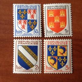 France num Yvert 951-954 ** MNH Armoiries de provinces Année 1953