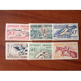 France num Yvert 960-965 ** MNH JO helsinki 1952 Année 1953