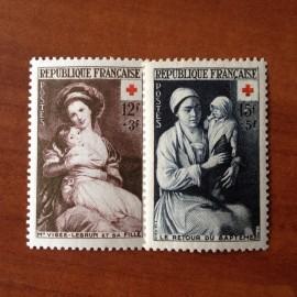 France num Yvert 966-967 ** MNH Croix Rouge Année 1953