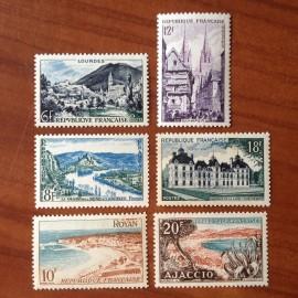 France num Yvert 976-981 ** MNH Serie Touristique Année 1954