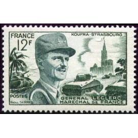 France num Yvert 984 ** MNH marechal Leclerc Année 1954