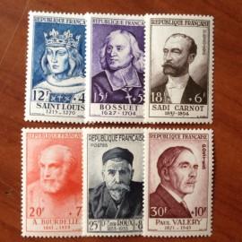 France num Yvert 989-994 ** MNH Célébrités Année 1954