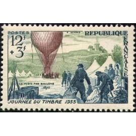 France num Yvert 1018 ** MNH Ballon Journée Timbre Année 1955