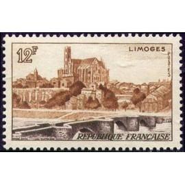 France num Yvert 1019 ** MNH Limoges Pont Année 1955