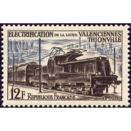 France num Yvert 1024 ** MNH Locomotive Alsthom Année 1955