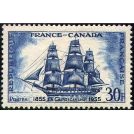 France num Yvert 1035 ** MNH Fregate Voilier Année 1955
