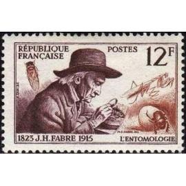 France num Yvert 1055 ** MNH JH Fabre Insecte Année 1956