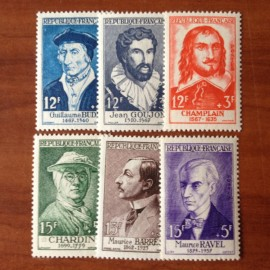 France num Yvert 1066-1071 ** MNH Célébrités Année 1956