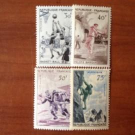 France num Yvert 1072-1075 ** MNH Série sportive Année 1956