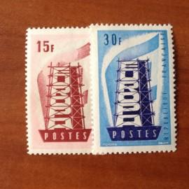 France num Yvert 1076-1077 ** MNH Europa  Année 1956