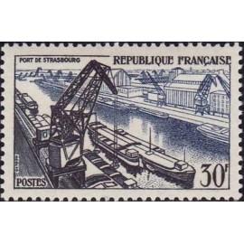 France num Yvert 1080 ** MNH Peniche Strasbourg Port Année 1956