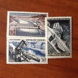 France num Yvert 1078-1080 ** MNH Realisation technique Année 1956