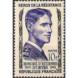 France num Yvert 1101 ** MNH Resistance Orves Année 1957