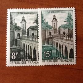 France num Yvert 1105-1106 ** MNH Vauban Pont Année 1957