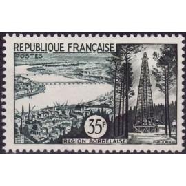 France num Yvert 1118 ** MNH petrole bordeaux Année 1957