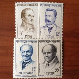 France num Yvert 1142-1145 ** MNH Medecine Année 1958