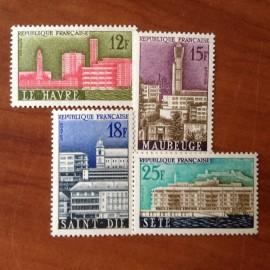France num Yvert 1152-1155 ** MNH Ville reconstruite guerre Année 1958