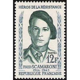 France num Yvert 1158 ** MNH Resistance Scamaroni Année 1958