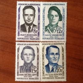France num Yvert 1157-1160 ** MNH Heros de la Resistance Année 1958