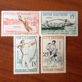 France num Yvert 1161-1164 ** MNH Jeux Traditionnels Année 1958
