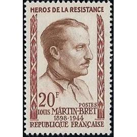 France num Yvert 1201 ** MNH Resistance Martin Bret Année 1959