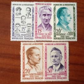 France num Yvert 1198-1202 ** MNH Heros de la resistance Année 1959