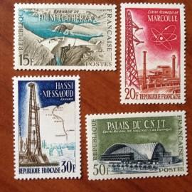France num Yvert 1203-1206 ** MNH Réalisations Techniques Année 1959