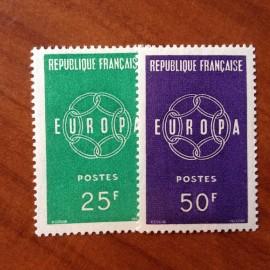 France num Yvert 1218-1219 ** MNH Europa  Année 1959